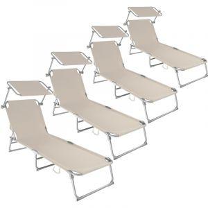 TecTake Lot de 4 Chaise longue de jardin, Transat, Bain de soleil, Pare Soleil, Multi positions, Pliable 190 cm Beige