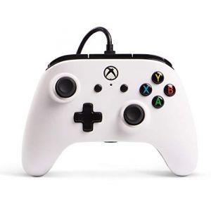 PowerA Manette filaire sous licence officielle pour Xbox One, Xbox One S, Xbox One X, Windows 10 - Blanc