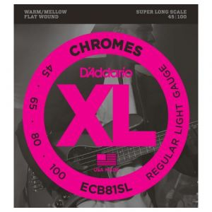 D'Addario Cordes pour basse Chromes ECB81SL, Light, 45-100, cordes extra-longues