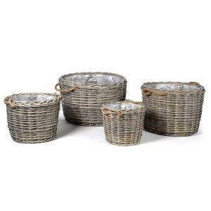 Pot rond moyen Charles osier grisé 38,5L