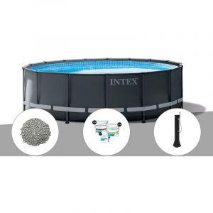 Intex Kit piscine tubulaire Ultra XTR Frame ronde 5,49 x 1,32 m + 20 kg de zéolite + Kit de traitement au chlore + Douche solaire