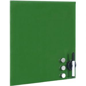 wiltec Tableau magnétique en verre Mémo board Vert Tableau aide-mémoire l45x50cm