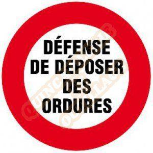 """Novap Disque plastique 30 cm """"Défense de déposer des ordures"""""""