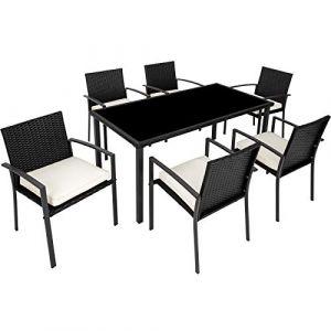 TecTake Salon de Jardin 6 Chaises et 1 Table en Résine Tressée Structure Acier Noir