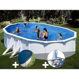 Gre Kit piscine acier blanc Bora Bora ovale 6,34 x 3,99 x 1,22 m + Bâche hiver + Kit d'entretien