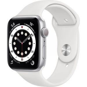 Apple Watch Series 6 GPS, 44mm boitier aluminium argent avec bracelet sport blanc