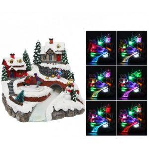 Fomax Village de Noël lumineux avec patineur animé