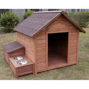 Lifland Niche pour chien Ontario en bois Maxi + 2 gamelles