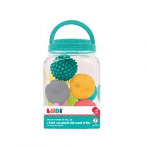 Ludi Assortiment de 8 balles d'éveil | | Balles d'éveil assorties | Formes et couleurs différentes | En plastique souple | À partir de 6 mois