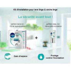 Wpro Kit de superposition et vanne anti-inondation pour lave linge