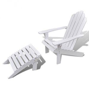 VidaXL 40859 - Chaise de jardin en bois avec repose-pied