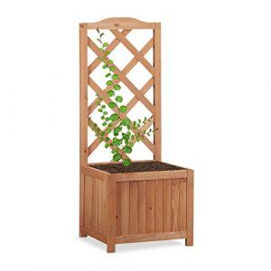 Relaxdays Jardinière avec treillis bac à fleurs treillage bois jardin pot plantes résistant 20 litres 90 cm, nature