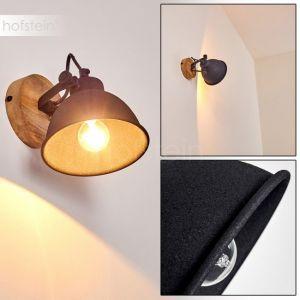 Hofstein Applique Svanfolk en métal noir et bois, spot orientable au style rétro pour une ampoule E14, max. 40 Watts, compatible LED