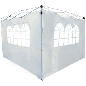 Outsunny Parois latérales de rechange barnum tonnelle 3 x 3 ou 3 x 6 m 2 pièces 2 grandes fenêtres blanc