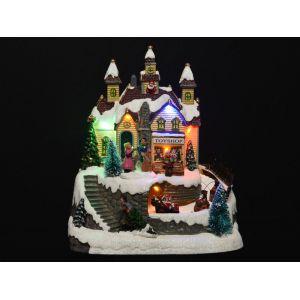 Décoris Village de Noël lumineux LED et animé magasin de jouet Camp