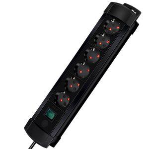 Brennenstuhl 1152801 - Bloc 6 prises Eco-line, avec interrupteur, noir