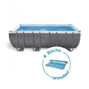 Intex Pack Piscine tubulaire Ultra Silver 5,49 x 2,74 x 1,32 m + Bâche à bulles + Enrouleur