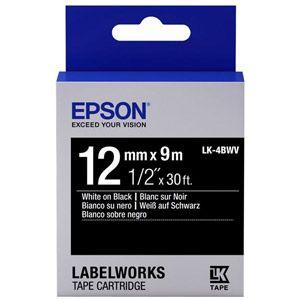 Epson LK-4BWV - Ruban brillant 12 mm x 9 m blanc sur noir pour étiqueteuse