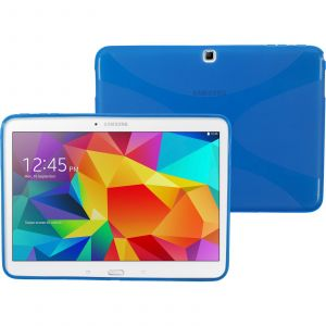 Phonenatic Coque En Silicone Pour Samsung Galaxy Tab 4 10.1 - X-Style Bleu