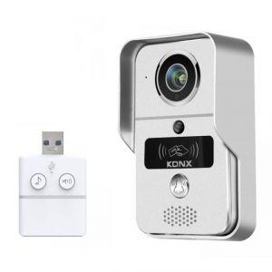 Konx Portier audio et vidéo 720p Wi-Fi avec sonnette USB et lecteur RFID