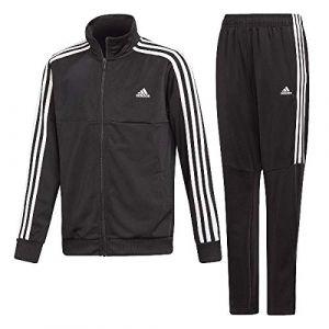 Adidas YB TS Tiro Survêtement Garçon, Top:Noir Bottom:Noir/Blanc, FR : M (Taille Fabricant : 910A)