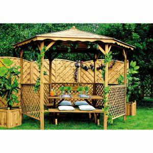 Jardipolys 0700012 - Tonnelle Lora avec toit en bois Ø320 x 245 cm