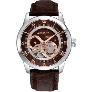 Bulova Automatic 96A120 - Montre-bracelet de créateur - pour homme - à remontage automatique - bracelet en cuir - cadran marron/rose doré