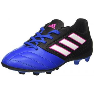 Adidas Ace 17.4 FxG J, Chaussures de Football Mixte Enfant, Noir (Core Black/Footwear White/Blue), 36 2/3 EU