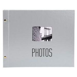 Exacompta 16735E - Album photos City 37x29 cm, 40p. noires/160 photos, reliure à vis, argent