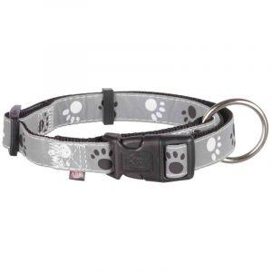 Trixie Silver reflect collier - M-L: 35-55 cm/20 mm, noir/gris argent