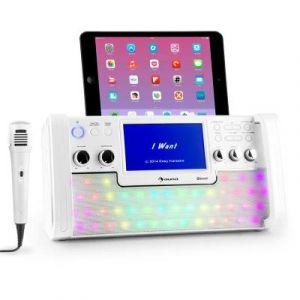 Auna DiscoFever Chaîne karaoké Bluetooth LED Ecran TFT 7 lecteur CD USB blanc