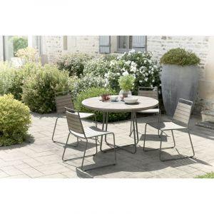 LesTendances Ensemble de jardin en teck : 1 table à manger ronde - 2 lots de 2 chaises empilables en teck et métal JARDITECK
