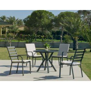 Hévéa Salon de jardin en aluminium 4 places Ayma Argana
