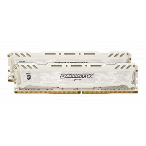 Crucial Sport LT - DDR4 - 32 Go: 2 x 16 Go - DIMM 288 broches - 3000 MHz / PC4-24000 - CL15 - 1.35 V - mémoire sans tampon - non ECC - blanc