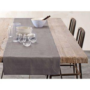 Blanc Cerise Chemin de table - lin déperlant - uni taupe 050x180 cm Marron