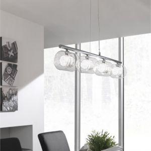 Massive Callas - Suspension barre 4 lumières en métal chromé et verre