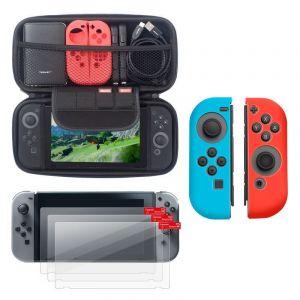 Insten Coques en Silicone Bleu/Rouge + Étui de Transport + Films de Protection Nintendo Switch
