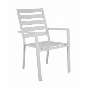 Hévéa Fauteuil à manger sarana p3 en aluminium blanc coussins couleur alba ecru - Lot de 2
