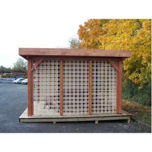 Habrita Auvent OMBRA toit plat couverture bac acier avec treillage sur 1 côté - 12.53 m² - 3.54 x 3.54 x 2.40m