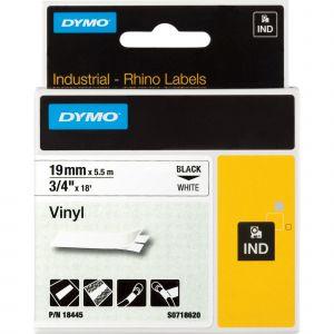 Dymo S0718620 - Ruban vinyle 19 mm x 5 5 m noir / blanc