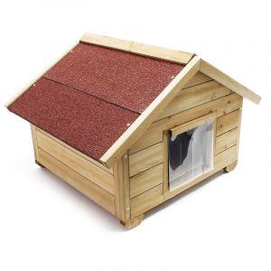 wiltec Niche de chat avec Isolation avec Porte Maison pour chat Outdoor Maisonnette de chat pour l'hiver S