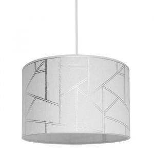 SEYNAVE HAROLD Suspension en polyester et coton - Ø30cm x H.20 cm - Blanc - Motif irisé - E27 40 W