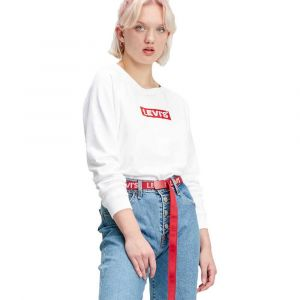 Levi's Relaxed Graphic Crew Sweat-Shirt - Femme - Blanc (Crew Box Tab White+ 0092) - Small