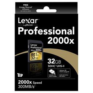 Lexar LSD32GCRBNA2000R - Carte SD 32 Go 2000X Professional UHS-II Class 10 300 Mo/s
