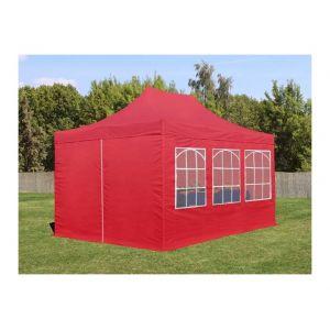 Intent24 Tente de Réception Rouge 3x4,5 m avec 6 Fenêtres