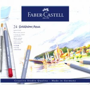 Faber-Castell Boîte de 24 crayons aquarellables Goldfaber Aqua