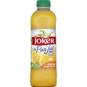 Joker 100% pur jus d'orange sans pulpe, sans sucres ajoutés - La bouteille de 1L