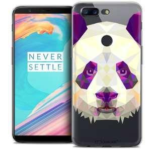 CaseInk Coque Gel OnePlus 5T (6 ) Extra Fine Polygon Animals - Panda