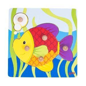 Goki 57554 - Puzzle à encastrements Poisson 5 pièces