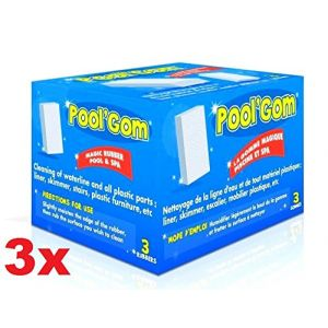 Toucan Productions Pool Gom - Lot de 9 pièces - Gomme spéciale pour le nettoyage de la ligne d'eau, murs, parties en plastique pour piscine et Spa